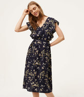 LOFT Floral Flutter Midi Dress