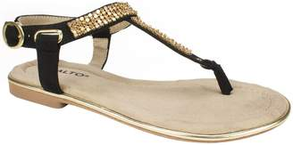 Rialto Embellished T-Strap Thong Sandals - Zora