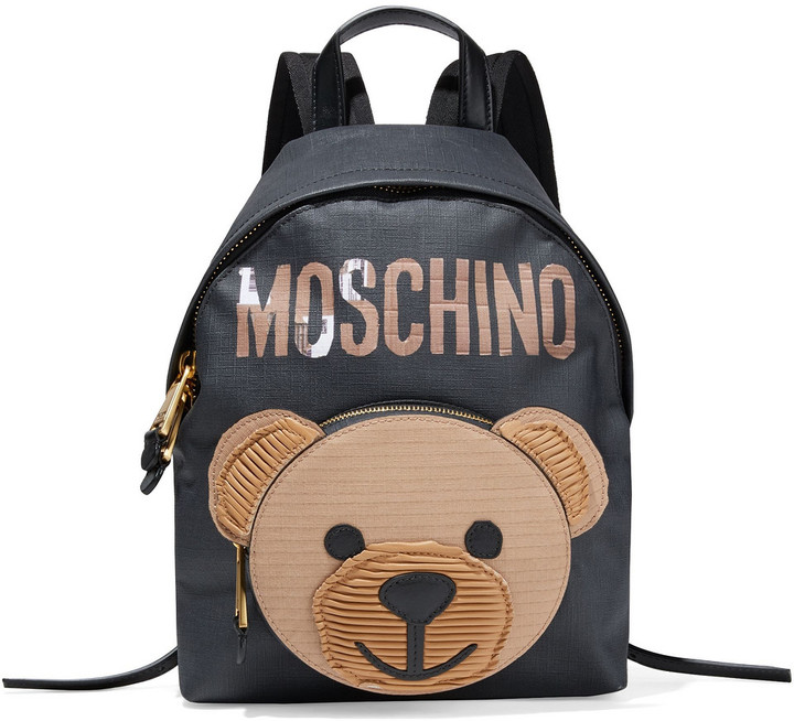 Moschino Printed Coated Textured-leather Backpack