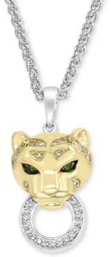 "Effy Diamond (1/8 ct. t.w.) & Tsavorite Accent Panther Doorknocker 18"" Pendant Necklace in Sterling Silver & 14k Gold-Plate"