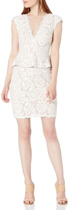 Betsy & Adam Women's Peplum All Over Lace with Open Back Short