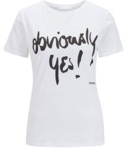 HUGO BOSS Crew-neck cotton T-shirt with handwritten slogan print