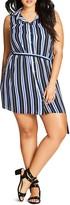 City Chic Hamptons Striped Shirt Dress