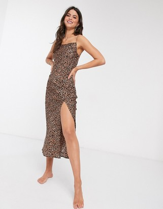 Billabong Love Bias maxi dress with side-split in animal