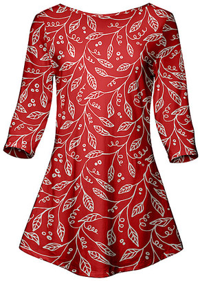 Lily Women's Tunics RED - Red & White Leaf Sketch Boatneck Swing Tunic - Women & Plus