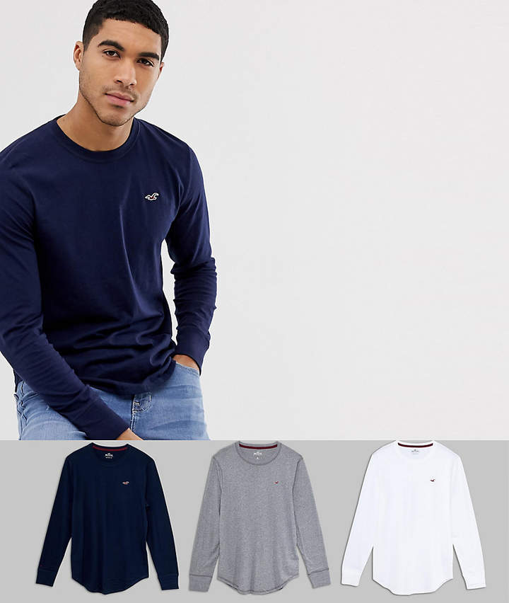 Hollister 3 pack seagull logo long sleeve top in white/navy & grey marl
