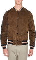 Lanvin Suede Bomber Jacket w/Striped Trim, Brown
