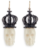 Delfina Delettrez 'Bone Skull' 18k yellow gold and silver drop earrings
