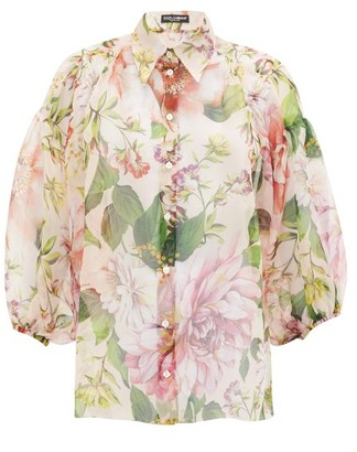 Dolce & Gabbana Pintucked Peony-print Silk-organza Blouse - Womens - Pink Print