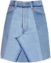 RE/DONE High Waisted Seamed Indigo Denim Skirt