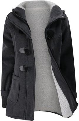 Yishen Women's Hoodies Long Sleeve Fleece Lined Horn Button Hooded Casual Plain Color Zip Up Sweatshirt with Pockets Outerwear Warm Tops Autumn Winter Jacket Oversized Coats Oversized S-6XL Dark Grey