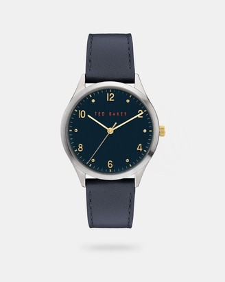Ted Baker Pebble Grain Leather Strap Watch