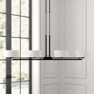 Hubbardton Forge Trestle 4 - Light Kitchen Island Linear Pendant Finish: Bronze, Shade Type: Pearl Glass Tube, Stem Length: Standard