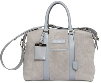 Crafted Society Nando Weekender Small - Grey Canvas & Grey Saffiano Leather