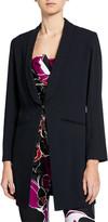 Trina Turk Critic Silky Satin Crepe Long Blazer