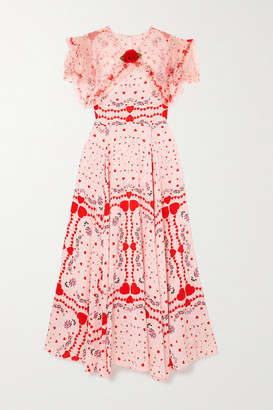 Rodarte Ruffled Organza-trimmed Printed Silk Crepe De Chine Dress - Red