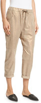 Brunello Cucinelli Metallic Leather Lamé; Jogger Pants, Gold