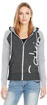 Calvin Klein Women's Solid Cut Off Logo Zip Front Jacket