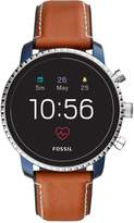 Fossil Q Explorist Gen 4 Full Display with Blue IP and Brown Leather Strap Mens Smartwatch