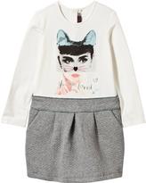 Catimini Cat Face Printed Tee and Jacquard Skirt Dress