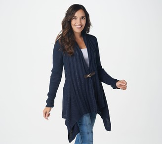 Denim & Co. Cable Knit Long-Sleeve Cardigan with Buckle Closure