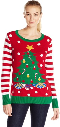 Ugly Christmas Sweater Company Women's Christmas Tree Light-up Machine Washable Crew Pullover Sweater