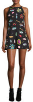 Moschino Sleeveless Fantasy-Print Babydoll Dress, Black