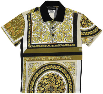 Versace Boy's Baroque Short-Sleeve Polo Shirt, Size 4-6
