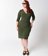 Kiyonna Plus Size Olive Martini Green Quarter Sleeve Ciara Cinch Wrap Dress