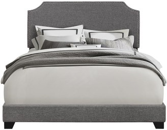 Accentrics Home Grey Upholstered Clipped Corner Bed