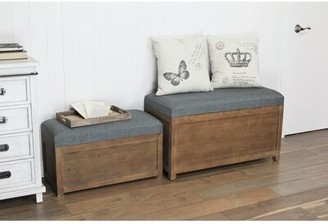 Gracie Oaks Woodrum Wooden Upholstered Storage Bench