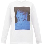 Raf Simons Blue Velvet-print Cotton-jersey T-shirt - Womens - White