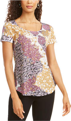 Style&Co. Style & Co Graphic Floral-Print Top