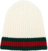 Gucci Web trim knitted beanie - men - Wool - M