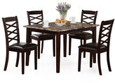 Monarch Five-Piece Cross-Back Marble-Look Dining Set