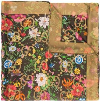 Gucci GG Supreme Flora print scarf