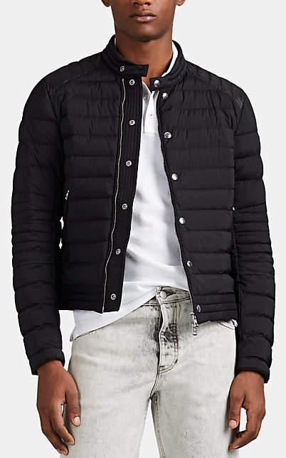 Moncler Men's Barral Down-Quilted Moto Puffer Jacket - Black