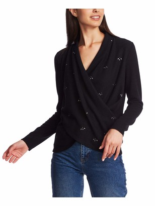 1 STATE Womens Black Beaded Long Sleeve V Neck Sweater Size: XS