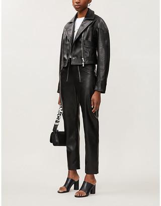 Stella McCartney Cropped faux-leather biker jacket