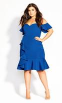 City Chic Flutter Away Dress - blue