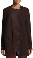 Vince Chunky Wool-Cashmere Cardigan, Raisin