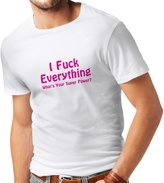 lepni.me N4020 T-shirt male I F..k Everything gift ( White Magenta)