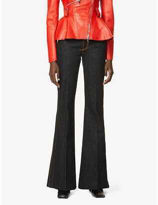 Alexander McQueen Mid-rise flared stretch-denim jeans