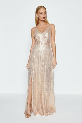 Coast Sleeveless Side Split Sequin Maxi Dress
