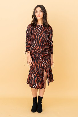 LIENA Brown Zebra Print Ruched Mini Dress