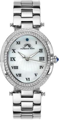 Porsamo Bleu Women's South Sea Oval Swarovski Crystal Bracelet Watch, 30.75mm