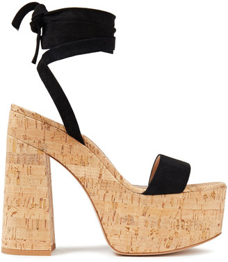 Gianvito Rossi Ambra Lace-up Suede Platform Sandals