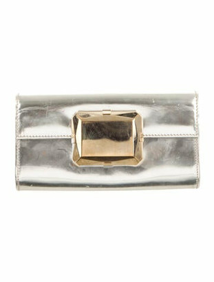 Gucci Patent Mini Gem Clutch Metallic