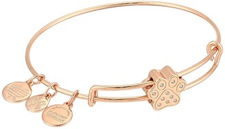 Alex and Ani Pave Paw Print Symbol Bead Bangle Bracelet (Shiny Rose Gold) Bracelet