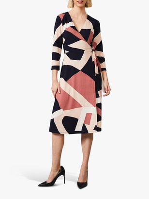 Phase Eight Nelly Abstract Print Knee Length Wrap Dress, Navy/Nude